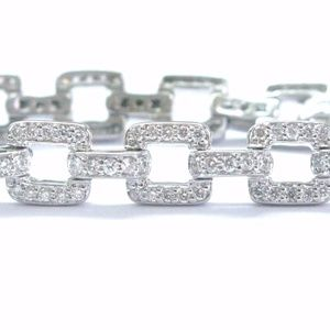 Jewelry - Fine Round Cut Diamond Square Link White Gold Brac